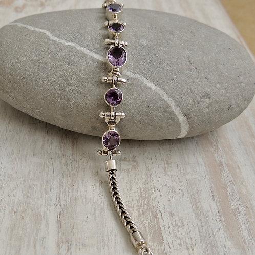 Cut Amethyst Stone Bracelet