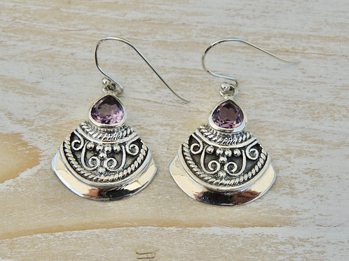 Ethnic Silver and Amethyst Earring