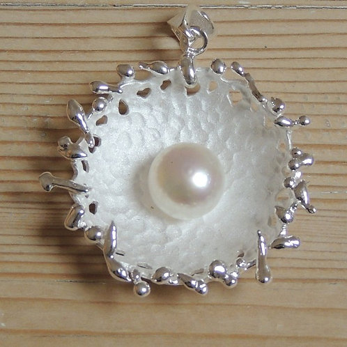 Large Pearl and Silver Pendant