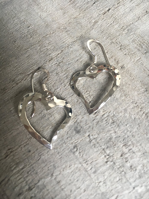 Beaten Silver Open Heart Earring