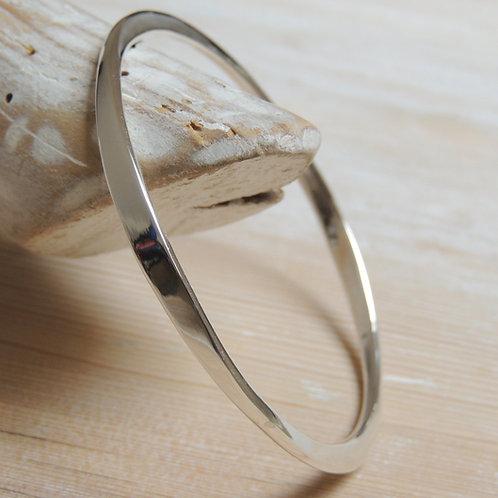 Asymmetrical Solid Silver Bangle