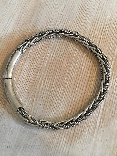 Silver Braided Bracelet with solid lock clasp