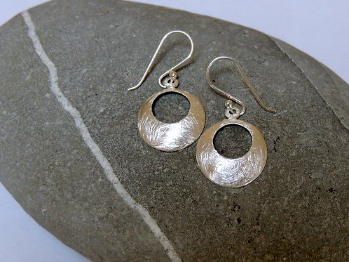 Silver Disc Earring with cut out