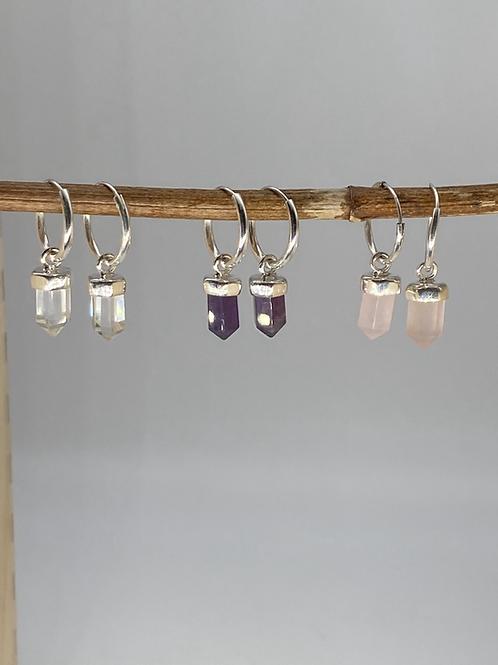 Rose Quartz Crystal Hoop Earrings