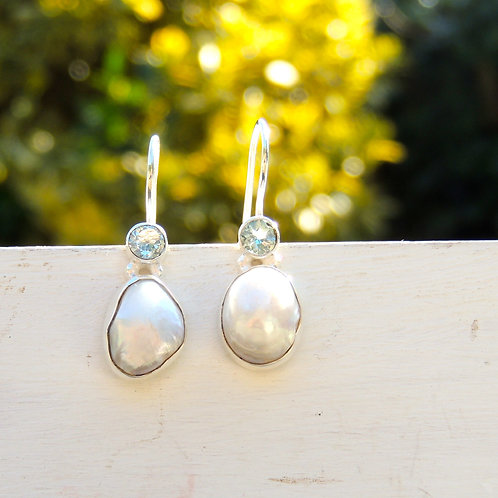 Unique Pearl and Blue Topaz Earring
