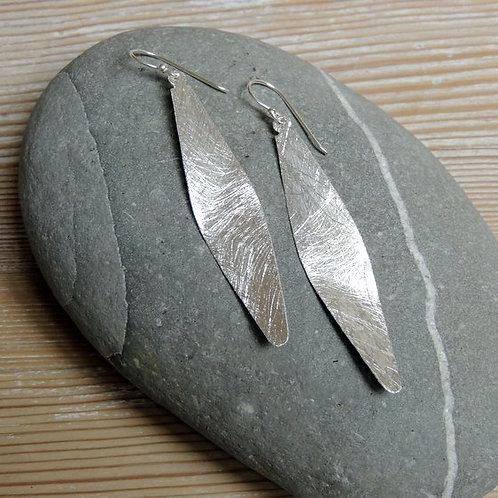 Long Brushed Silver Earring