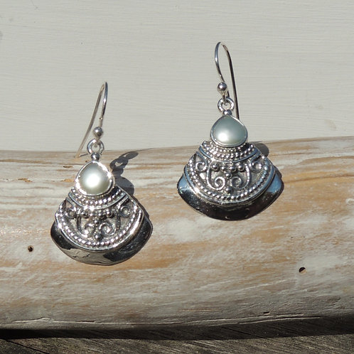 Ethnic Silver and Pearl earrings