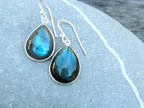 Labradorite teardrop shaped earring