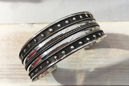 Wide Ethnic Silver Bangle/Cuff