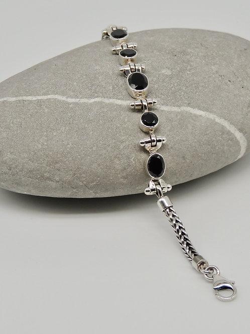 Cut Black Spinel Stone Silver Bracelet