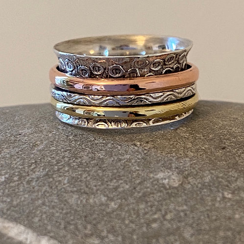 Spin Ring in Silver, Copper and Brass