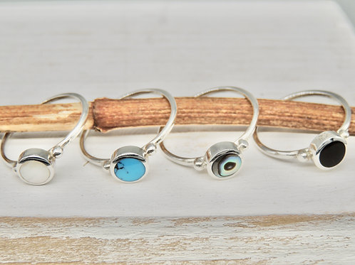 Delicate Round Stone Silver Rings