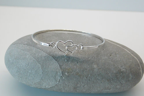 Delicate Silver Heart Bangle