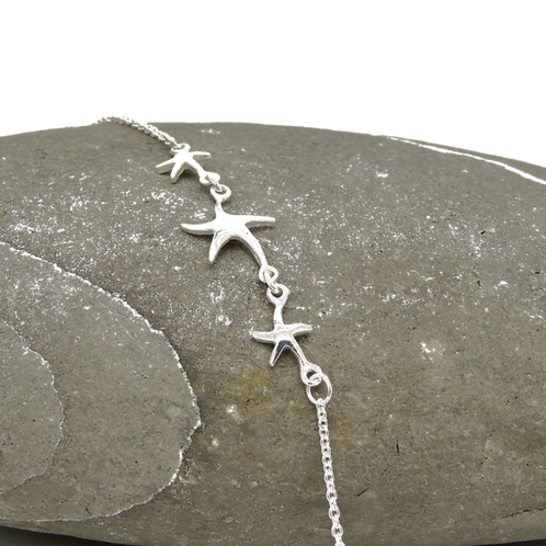 Delicate Silver Star Fish Chain Bracelet