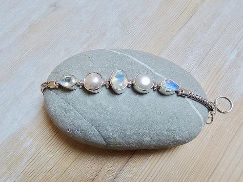 Pearl and Cut Rainbow Moonstone Bracelet