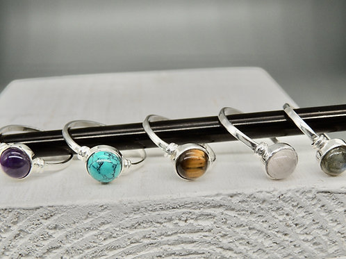 Simple Silver Stone ring with wrap
