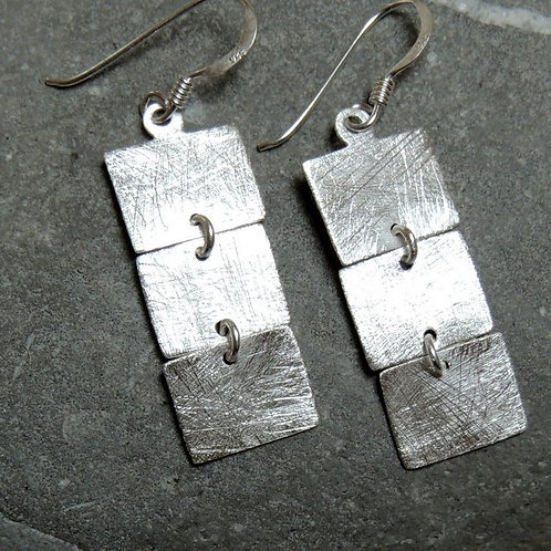 Silver Square Linked Earring