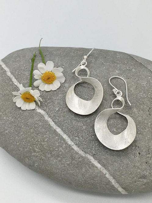 Brushed Silver Earrings with a twist