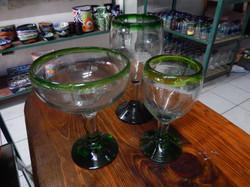 green wine & margarita glasses