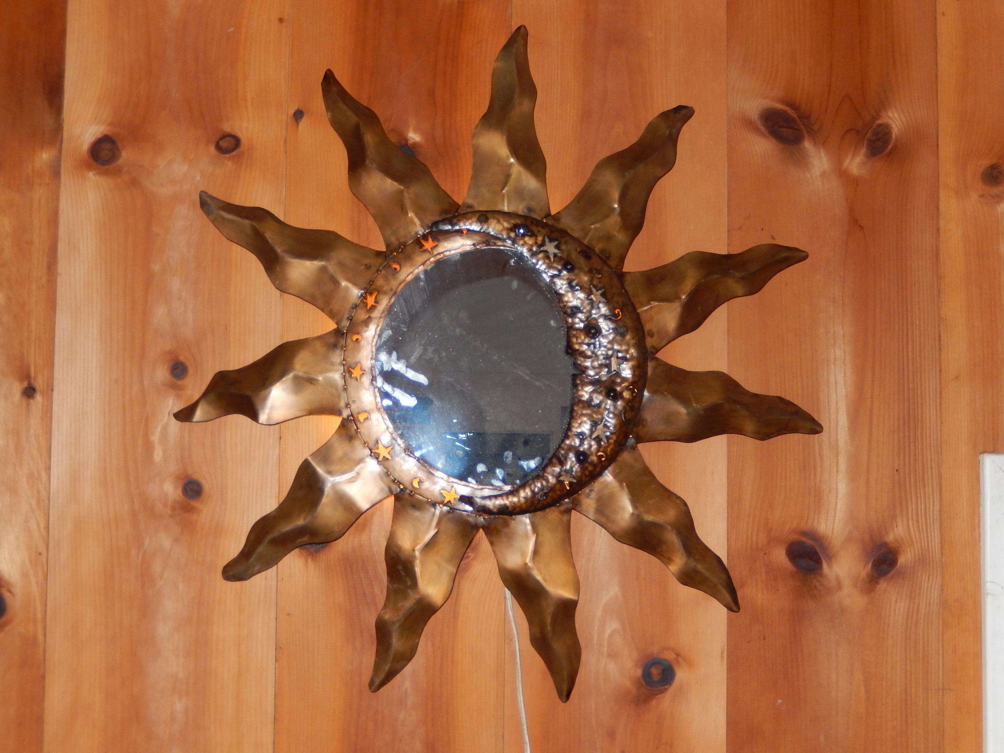 large sun/moon mirror with light