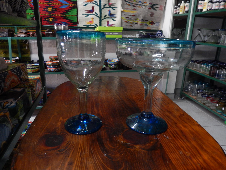 turquoise wine & margarita glasses
