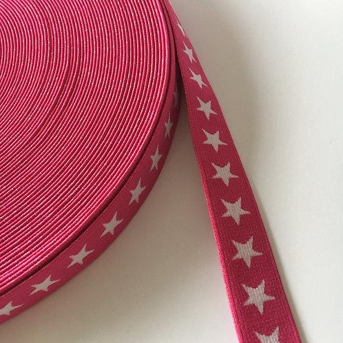 Gummiband 20mm pink/weiß