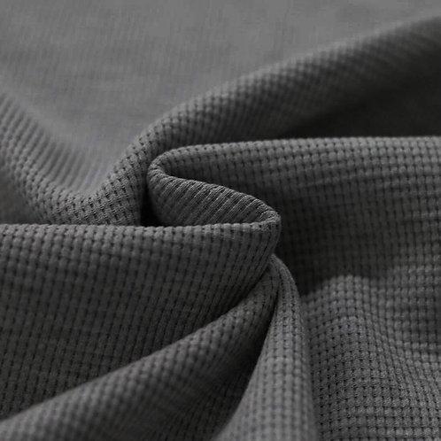 Waffelstrick Jersey Dark Grey Melange