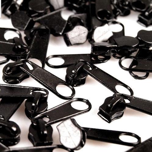 Schieber Zipper zu Spirale Reißverschlüssen 3 mm für Meterware Black