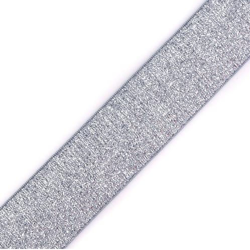 Gummiband Lurex grau 27mm