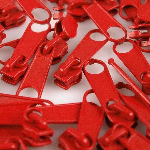 Schieber Zipper zu Spirale Reißverschlüssen 3 mm für Meterware Risk Red