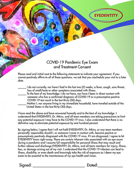 COVID-19 Pandemic Eye Exam  and Treatmen
