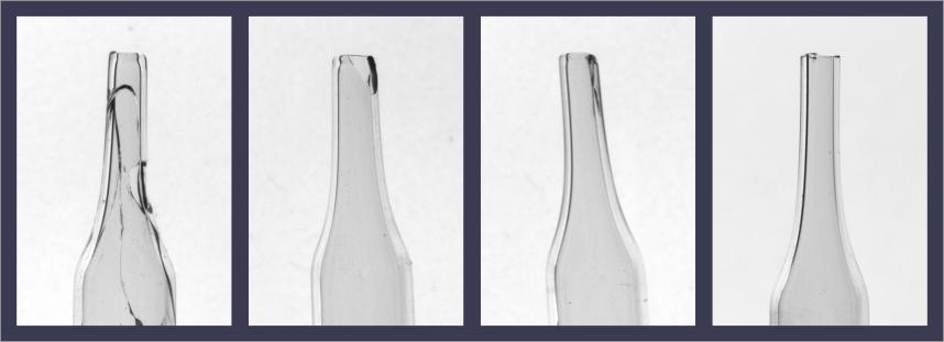 Pipetas con defectos de malformación del vidrio, descantillados y grietas.