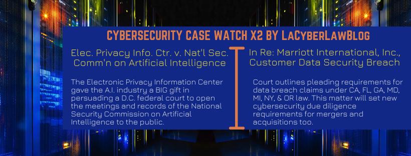 CYBERSECURITY CASE WATCH X2 - Nat'l Sec. Comm'n on Artificial Intelligence & Marriott