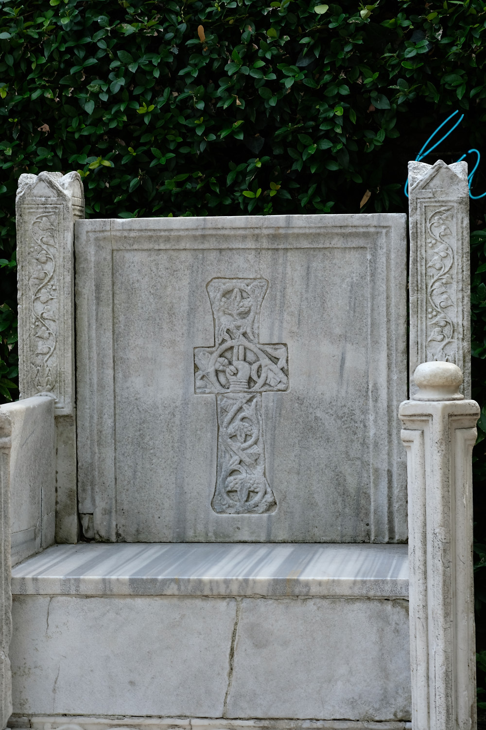 large Byzantine throne made of marble and ornately carved