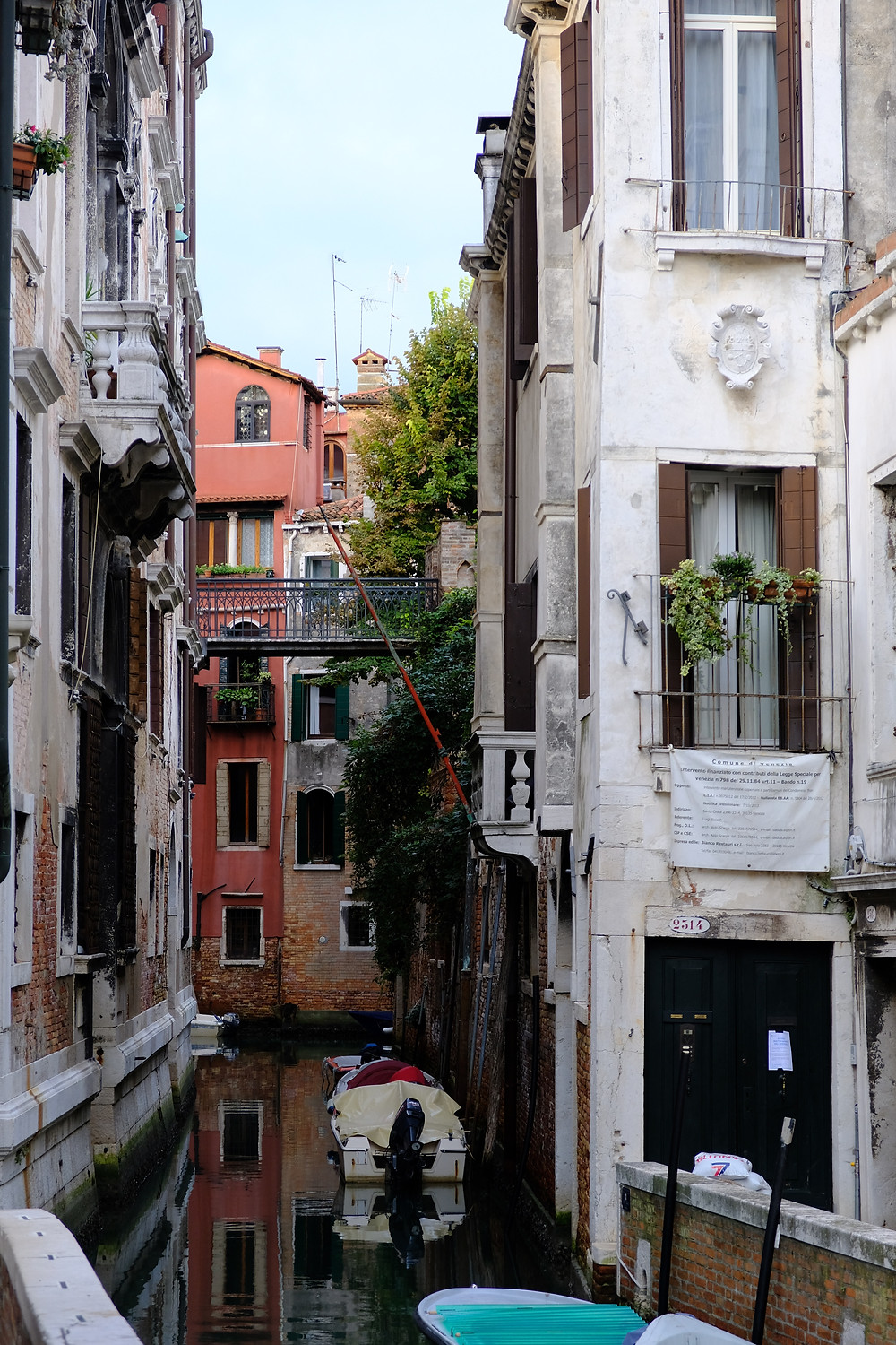 canal in Venice with buildings on both sides, a tree and boats in the water