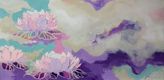 Contemporary floral painting with texture