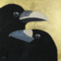 contemporary animal painting with two crows, using gold leaf, representing relationship