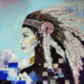 Contemporary panting of Native American Woman with blue colours