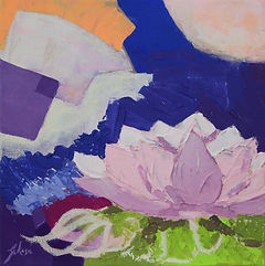 Contemporary flower painting with texture and bright colours
