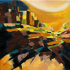 colourful abstract landscape painting