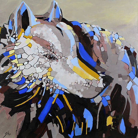 Contemporary wild life painting of a wolf withblue colours an geometric abstract shapes