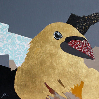 contemporary nature painting with gold leaf showing a bird