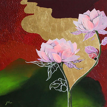 contemporary floral painting with texture and gold leaf in red and green colour