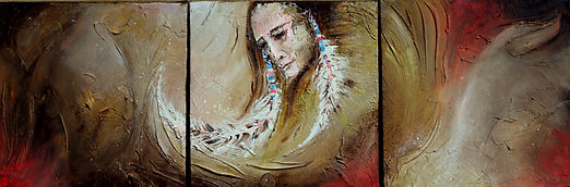 Contemporary painting of Native American man