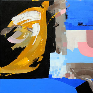 blue yellow abstract painting with organic and geometric forms