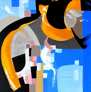 blue yellow coloured abstract acrylic painting from London