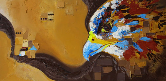wildlife painting with falcon to promote vision, colourful textured painting