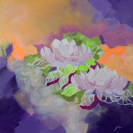 contemporary floral painting with colourful texture