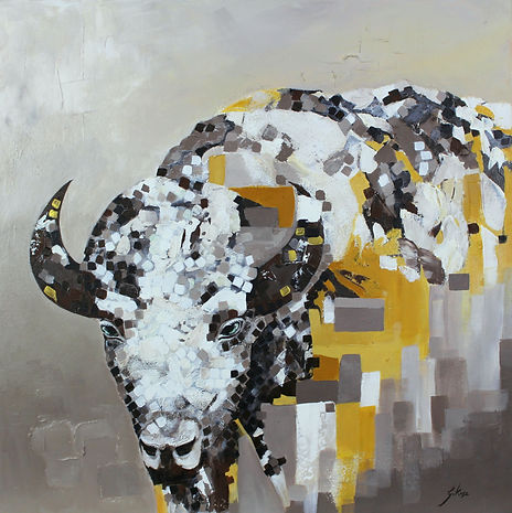 Abstracted painting with white bison with symbolic meaning