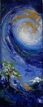contemporary expressionist landscape painting with moon